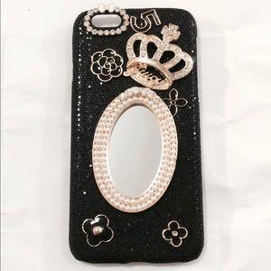 iPhone 7 Black Glitter Pearl Mirror Bling Case